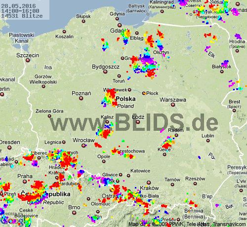 Lightning Poland 14:00 UTC Sat 28 May