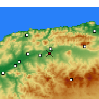 Nearby Forecast Locations - El Attaf - Map