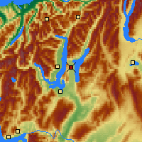Nearby Forecast Locations - Lake Hāwea - Map