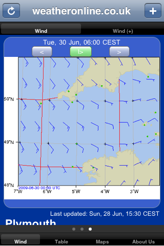 sailing app wind forecast region
